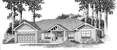 Craftsman Style House Plan - 4 Beds 2 Baths 1848 Sq/Ft Plan #53-355 Exterior - Front Elevation