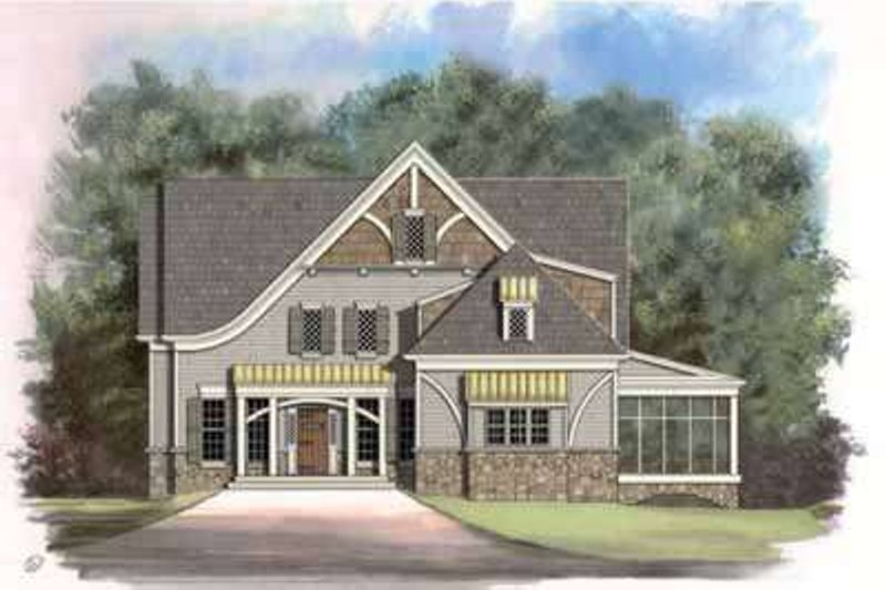 European Style House Plan - 4 Beds 4.5 Baths 2996 Sq/Ft Plan #119-232 Exterior - Front Elevation
