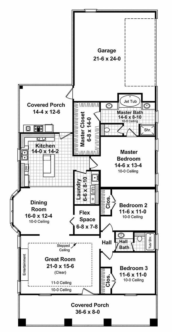 Craftsman Floor Plan - Main Floor Plan Plan #21-249