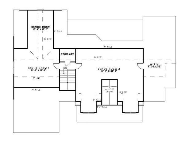 Craftsman Floor Plan - Upper Floor Plan Plan #17-2373