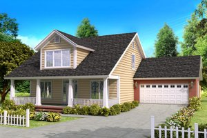Bungalow Exterior - Front Elevation Plan #513-1