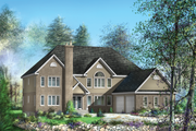 European Style House Plan - 4 Beds 3 Baths 4257 Sq/Ft Plan #25-4685 Exterior - Front Elevation