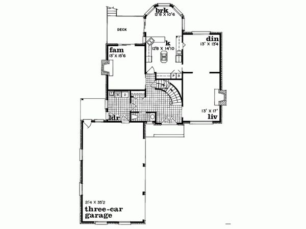 Traditional Floor Plan - Main Floor Plan Plan #47-633