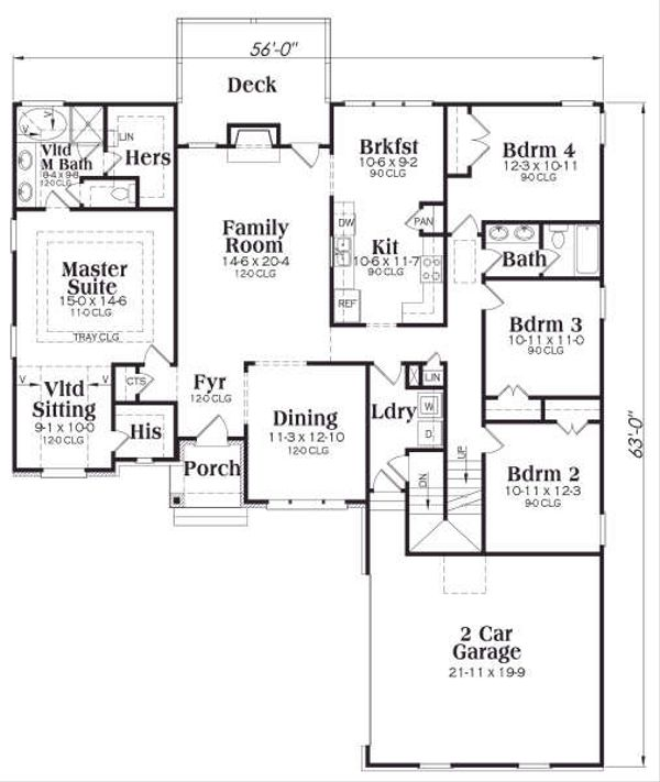 European Floor Plan - Main Floor Plan Plan #419-126
