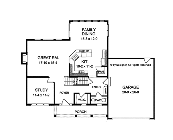 Colonial Floor Plan - Main Floor Plan Plan #1010-120