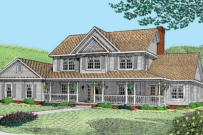 Architectural House Design - Victorian Exterior - Front Elevation Plan #11-258