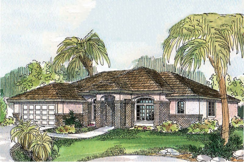 Mediterranean Exterior - Front Elevation Plan #124-502