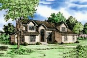 Traditional Style House Plan - 3 Beds 3.5 Baths 3068 Sq/Ft Plan #405-102 Exterior - Front Elevation
