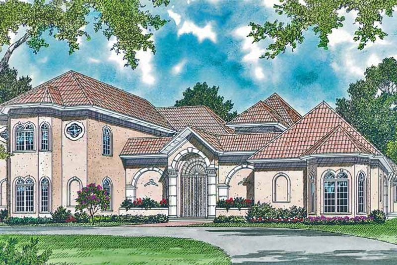 Architectural House Design - Mediterranean Exterior - Front Elevation Plan #453-323