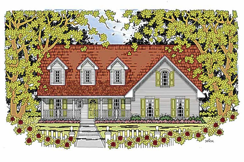 Country Exterior - Front Elevation Plan #42-598