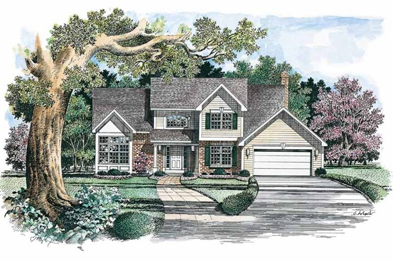 Colonial Exterior - Front Elevation Plan #316-142 - Houseplans.com