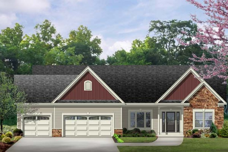 Ranch Exterior - Front Elevation Plan #1010-76