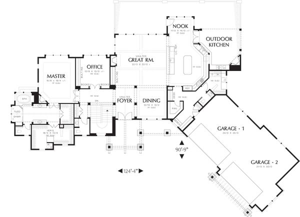 Craftsman Floor Plan - Main Floor Plan Plan #48-607