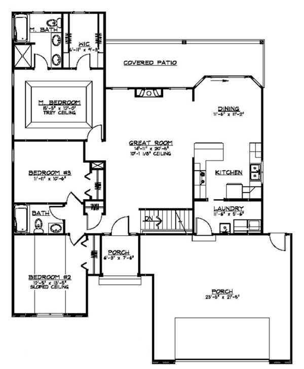 Ranch Floor Plan - Main Floor Plan Plan #1064-4