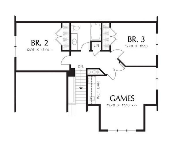European Floor Plan - Upper Floor Plan Plan #48-531