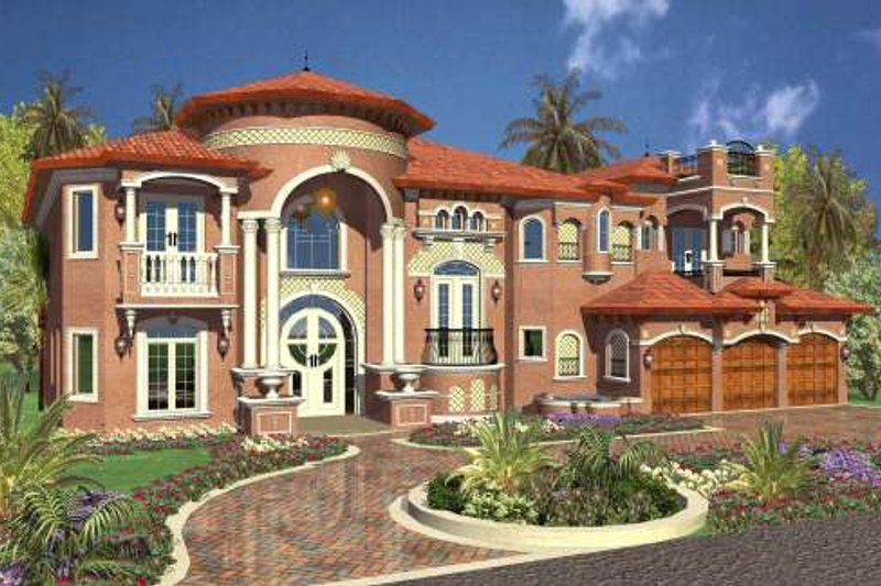 Mediterranean Style House Plan - 5 Beds 7.5 Baths 6679 Sq/Ft Plan #420-192 Exterior - Front Elevation