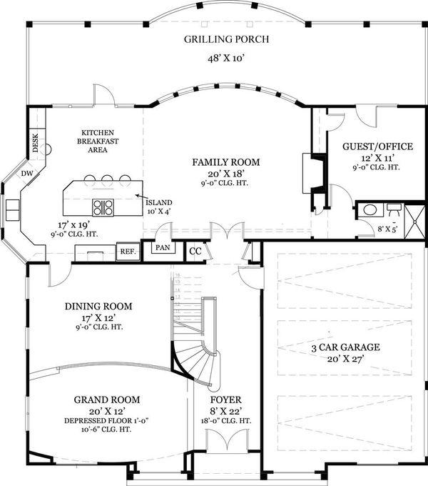European Floor Plan - Main Floor Plan Plan #119-341