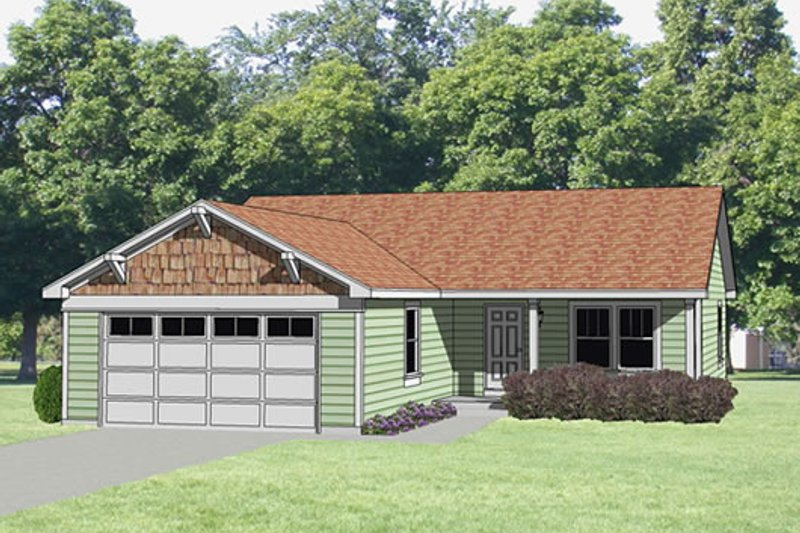 Ranch Style House Plan - 3 Beds 2 Baths 1176 Sq/Ft Plan #116-161 Exterior - Front Elevation