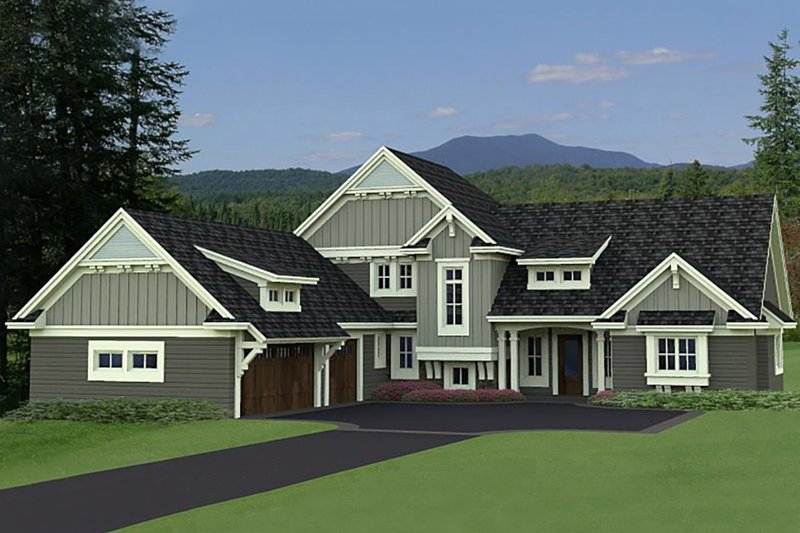 Craftsman Style House Plan - 4 Beds 3.5 Baths 3773 Sq/Ft Plan #51-562 Exterior - Front Elevation