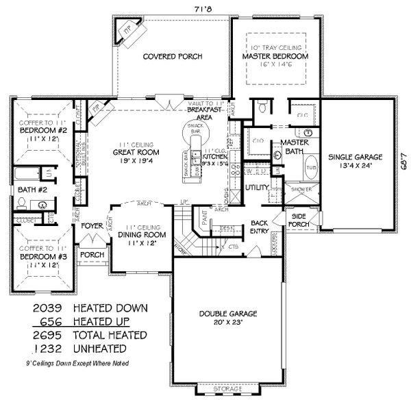 European Floor Plan - Main Floor Plan Plan #424-250