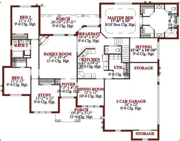 Traditional Floor Plan - Main Floor Plan Plan #63-197