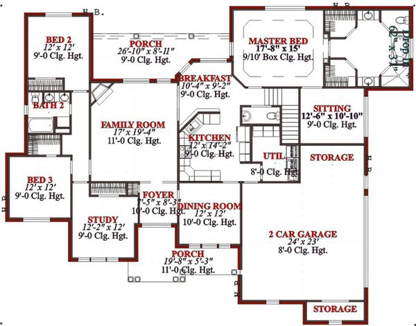 Traditional Floor Plan - Main Floor Plan Plan #63-197