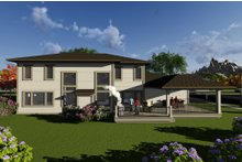 Dream House Plan - Modern Exterior - Rear Elevation Plan #70-1290