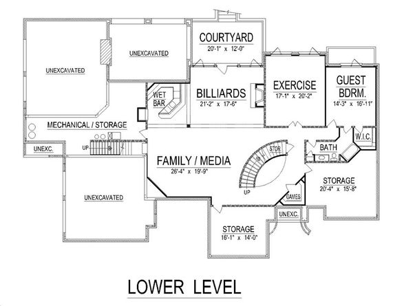 European Floor Plan - Lower Floor Plan Plan #458-23