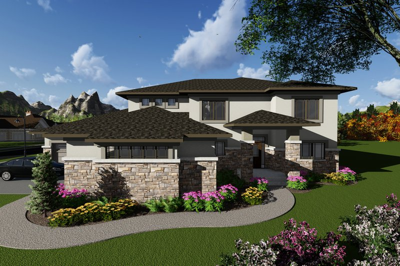 Modern Style House Plan - 5 Beds 5.5 Baths 3790 Sq/Ft Plan #70-1290 Exterior - Front Elevation