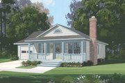 Cottage Style House Plan - 3 Beds 2 Baths 1050 Sq/Ft Plan #56-104 Exterior - Front Elevation