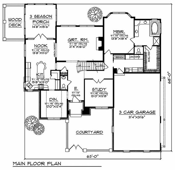European Floor Plan - Main Floor Plan Plan #70-489