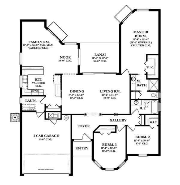 Mediterranean Floor Plan - Main Floor Plan Plan #1058-38