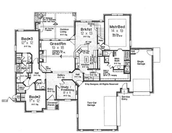 House Plan Design - European Floor Plan - Main Floor Plan #310-1268
