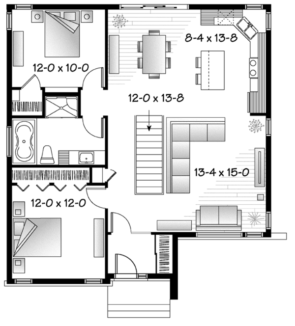 Contemporary Floor Plan - Main Floor Plan Plan #23-2571