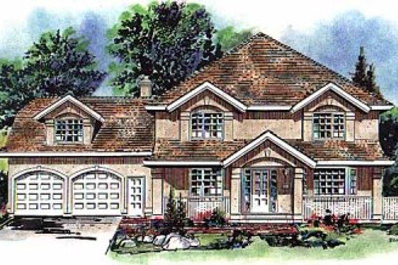 House Blueprint - European Exterior - Front Elevation Plan #18-221