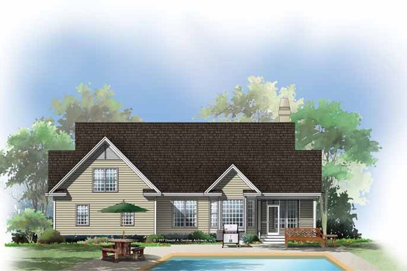 Dream House Plan - Country Exterior - Rear Elevation Plan #929-294