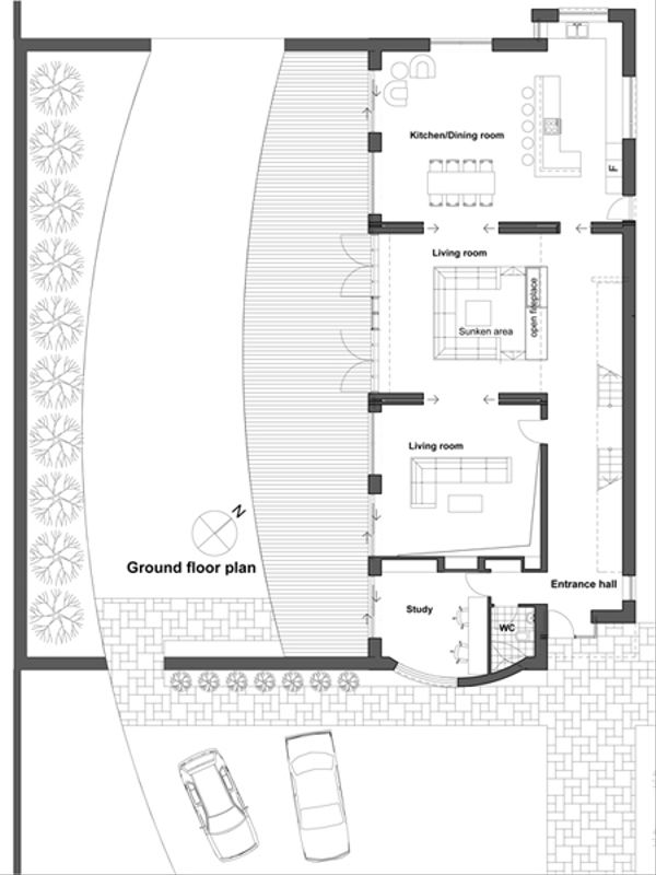 Contemporary Style House Plan - 4 Beds 4 Baths 3543 Sq/Ft Plan #520-3 Floor Plan - Main Floor Plan