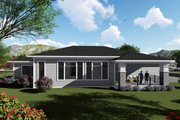 Ranch Style House Plan - 2 Beds 2.5 Baths 2200 Sq/Ft Plan #70-1422 Exterior - Rear Elevation