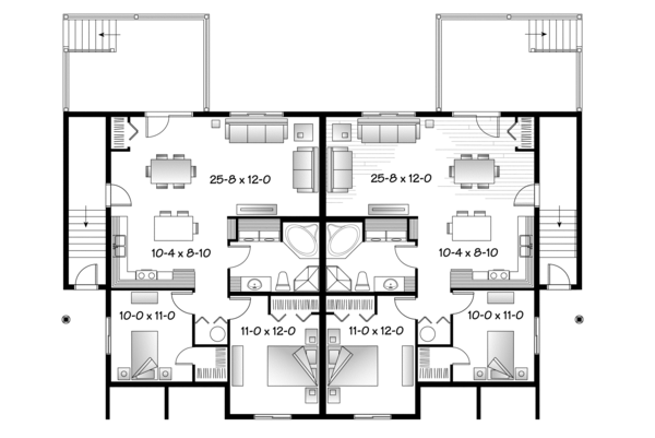 Country Floor Plan - Lower Floor Plan #23-2594