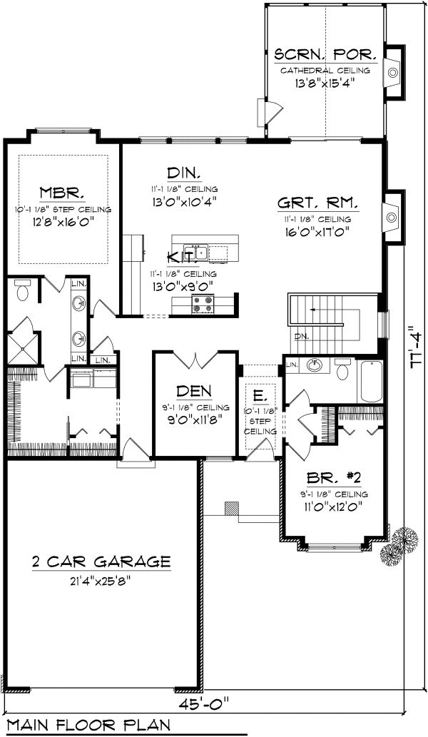 Ranch Floor Plan - Main Floor Plan Plan #70-1111