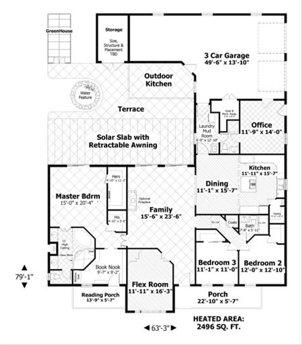 Home Plan - Craftsman Floor Plan - Main Floor Plan #56-701