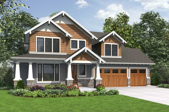 Craftsman Exterior - Front Elevation Plan #48-1002