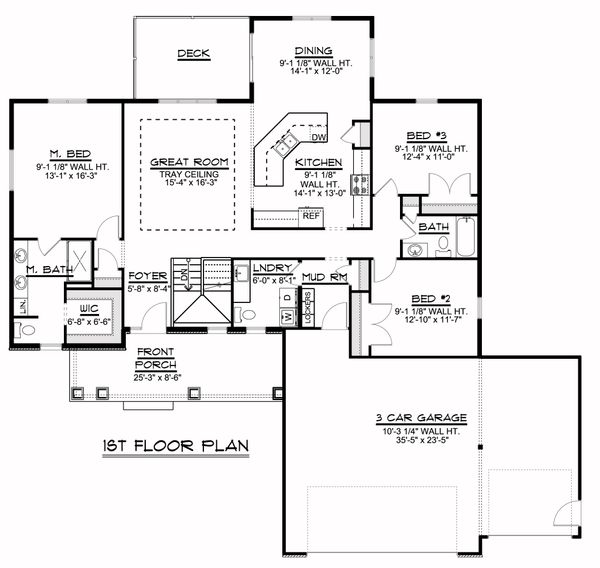 Craftsman Floor Plan - Main Floor Plan Plan #1064-39