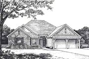 European Style House Plan - 3 Beds 2.5 Baths 2319 Sq/Ft Plan #310-814 Exterior - Front Elevation