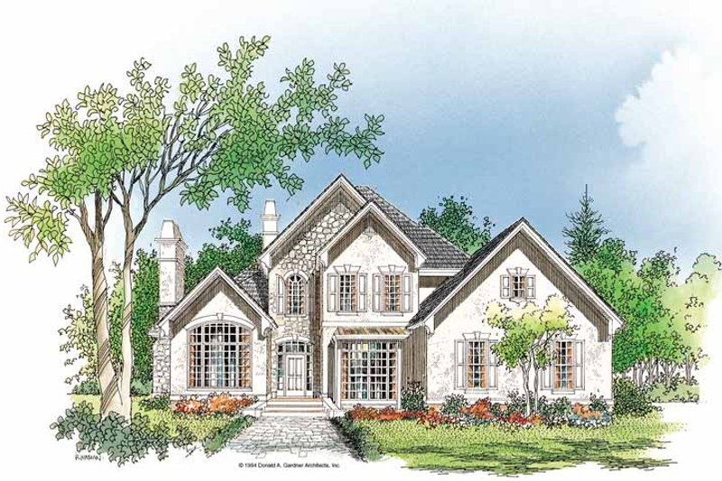 Architectural House Design - European Exterior - Front Elevation Plan #929-199