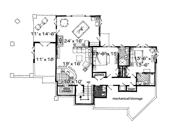 Ranch Floor Plan - Lower Floor Plan Plan #942-32