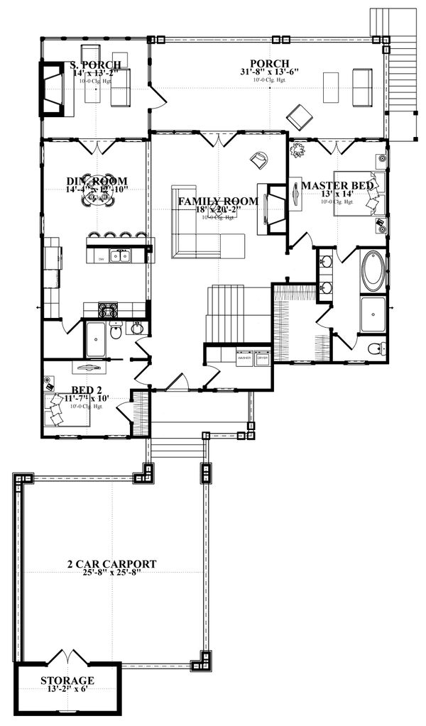 Traditional Floor Plan - Main Floor Plan Plan #63-412