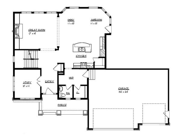 Craftsman Floor Plan - Main Floor Plan Plan #320-494