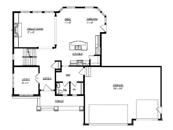 Craftsman Floor Plan - Main Floor Plan Plan #320-494