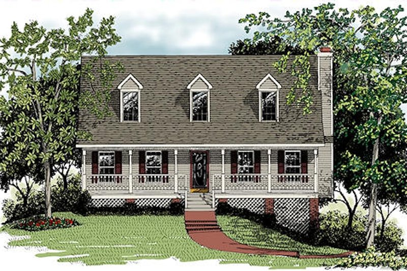 Architectural House Design - Country Exterior - Front Elevation Plan #56-132